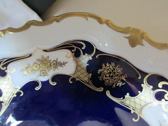 Reichenbach wunderschöner alter Prunkteller Schale Echt Kobalt Ø 32,5 cm Vitrine 6