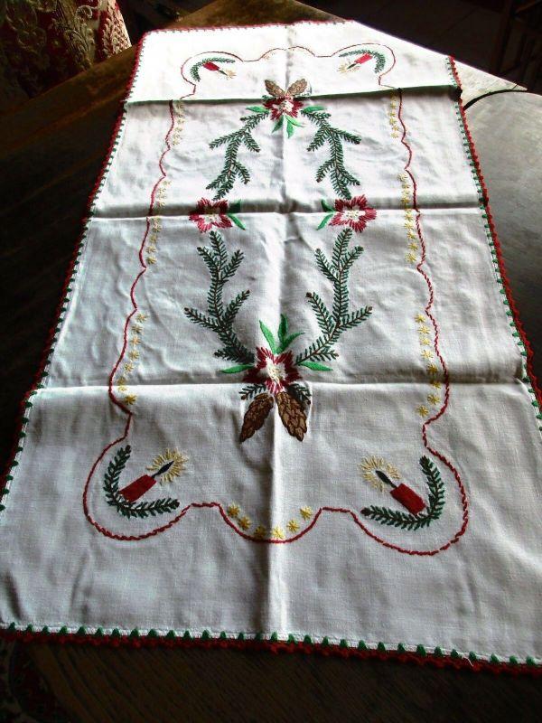 Alter Halbleinen Tischläufer Weihnachten Stickerei Handarbeit 90 x 47 cm