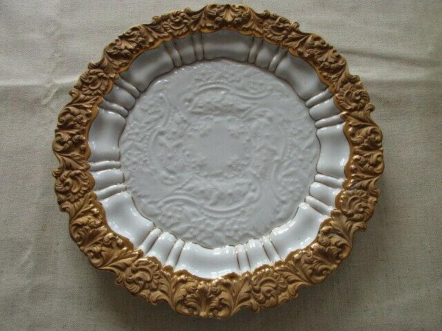 Meissen großer Prunkteller Goldbronze Relief 2.Wahl 32 cm