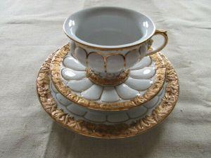 Meissen Prunk Kaffeegedeck Gedeck X Form Goldbronze Relief 1.Wahl