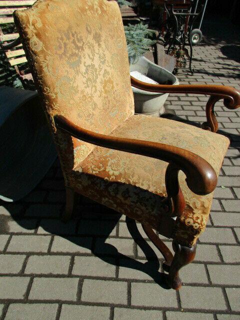 Alter Stuhl Armlehnstuhl  Eiche Jugendstil um 1910 1