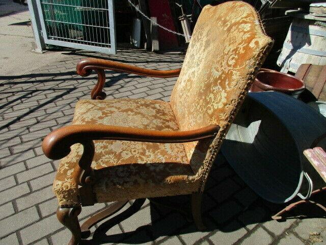 Alter Stuhl Armlehnstuhl  Eiche Jugendstil um 1910 6