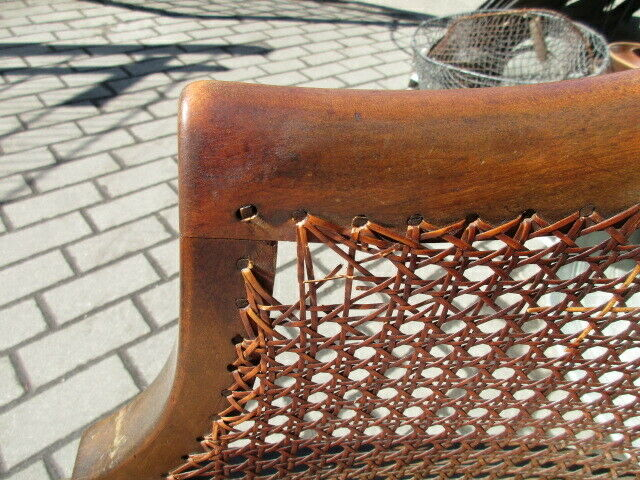 Alter Stuhl Armlehnstuhl  Nussbaum Korbgeflecht Jugendstil um 1910 3