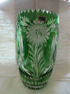 Lausitzer Glas Bleikristall große Vase Überfang grün 25 cm Vitrinenstück