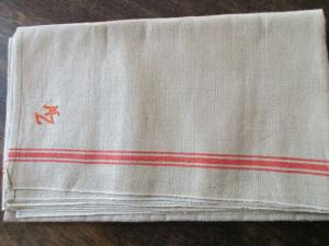 Altes Leinen Rolltuch Mangeltuch rote Streifen neuwertig Monogramm 300 x 90 cm