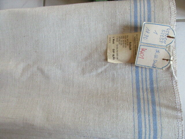 Altes Leinen Rolltuch Mangeltuch blaue Streifen neuwertig ca. 250 x 90 cm (4)