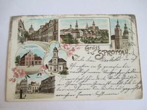 Alte AK Gruss aus Sprottau Schlesien Litho  Neustraße Diakonissenhaus gel 1901