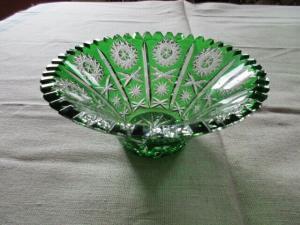 Lausitzer Glas Bleikristall Schale klein Überfang smaragdgrün grün Ø 16 x 7 cm