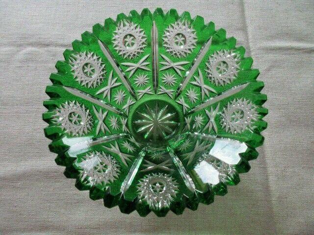 Lausitzer Glas Bleikristall Schale klein Überfang smaragdgrün grün Ø 16 x 7 cm 1
