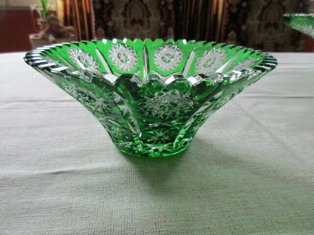 Lausitzer Glas Bleikristall Schale klein Überfang smaragdgrün grün Ø 16 x 7 cm 3