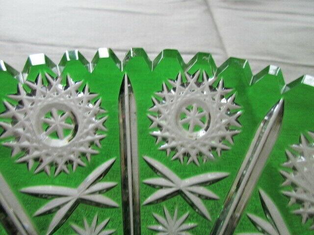 Lausitzer Glas Bleikristall Schale klein Überfang smaragdgrün grün Ø 16 x 7 cm 5