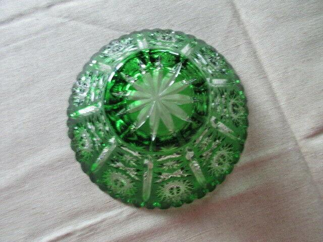 Lausitzer Glas Bleikristall Schale klein Überfang smaragdgrün grün Ø 16 x 7 cm 6