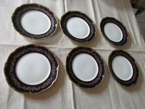 Reichenbach Echt Kobalt Gold PILLNITZ Prunkteller 6 Kuchenteller Dessert Ø 17 cm