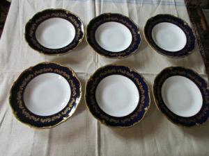 Reichenbach Echt Kobalt Gold PILLNITZ Prunkteller 6 Suppenteller Teller Ø 24 cm