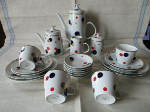 Lichte Kaffeeservice Teeservice Echt Kobalt 22 tlg. schönes DDR Design