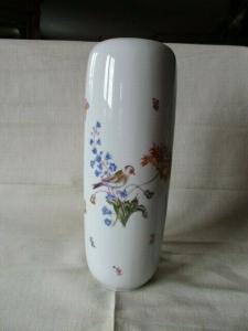 Lichte große Vase Vögel Schmetterlinge Blumen 36 cm