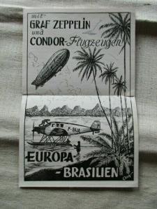 Graf Zeppelin und Condor Flugzeugen Europa - Brasilien Werbung Prospekt um 1935