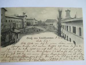 Seltene alte AK Gruß aus Lauchhammer Fabrikanlagen gelaufen 1898