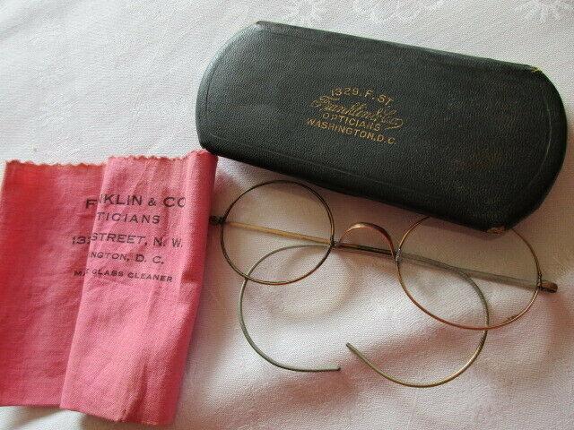 Altes Brillenetui mit Brille Franklin & Co Opticians Washington ( 2) 0
