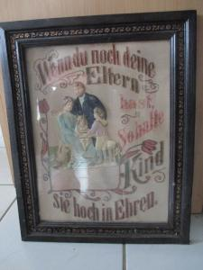 Altes Bild Bilderrahmen Wandspruch Spruchbild Stickerei Jugendstil um 1900