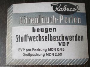 Altes Werbeschild Kabeco Bärenlauch Perlen Pappe geprägt Drogerie Apotheke