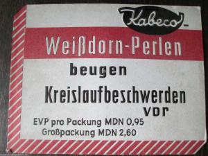 Altes Werbeschild Kabeco Weißdorn Perlen Pappe geprägt Drogerie Apotheke
