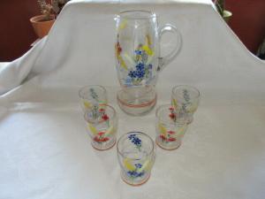 Altes Kristall Set Wasserkanne Krug + 5 Trinkgläser Wassergläser Glasmalerei