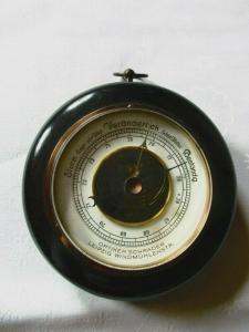 Altes Barometer Wetterstation Art Deco um 1930 Optiker Schrader Leipzig