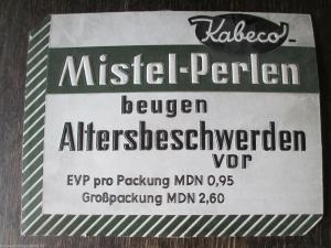 Altes Werbeschild Kabeco Mistelperlen Pappe geprägt Drogerie Apotheke