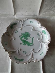 Wunderschöne große Schale grüner Drachen Ilmenau Graf Henneberg Handmalerei