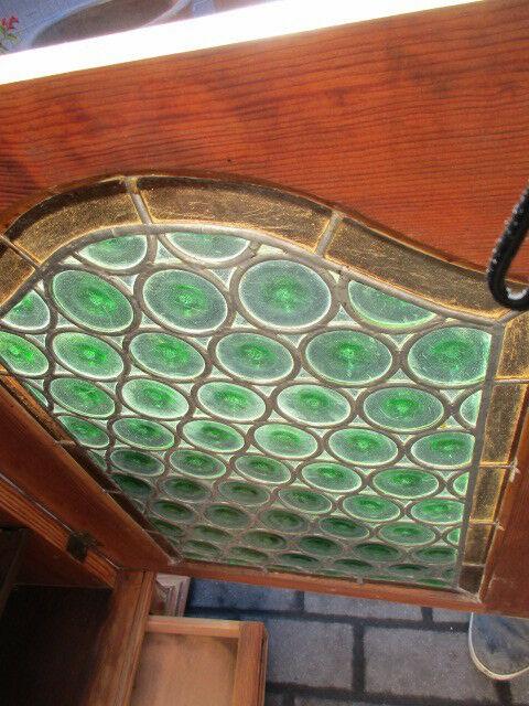 Alter Wandschrank Medizinschrank Gründerzeit um 1880 mit Bleiverglasung 9