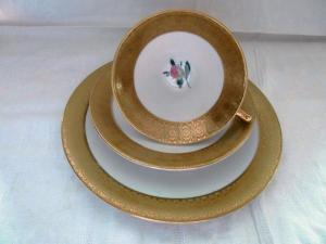 Winterling Porzellan alte Sammeltasse Sammelgedeck Golddekor Rose