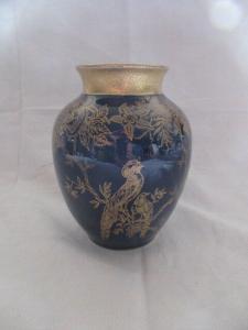 ILMENAU GRAF HENNEBERG Vase Echt Kobalt Golddekor Prunk Vögel