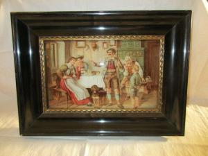 Gründerzeit Lithographie gewölbtes Glas Rahmen Bauernstube Familie Wirtschaft