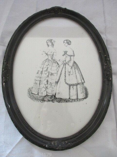 Alter Jugendstil Bilderrahmen mit Radierung? zweier Mädchen hinter Glas 0