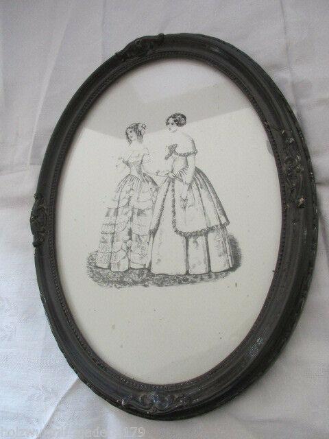 Alter Jugendstil Bilderrahmen mit Radierung? zweier Mädchen hinter Glas 1