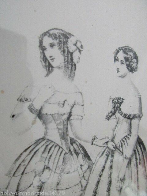 Alter Jugendstil Bilderrahmen mit Radierung? zweier Mädchen hinter Glas 2