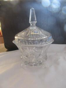 Lausitzer Glas Bleikristall Bonboniere Gebäckdose handgeschliffen in OVP