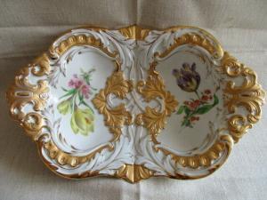Meissen Prunkschale Goldbronze Blumenmalerei 2. Wahl  31 x 20 x 6,5 cm