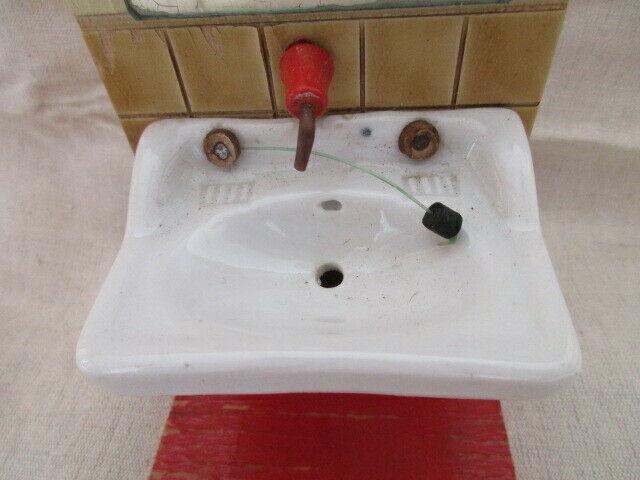 Puppenmobel Bad Badezimmer Waschbecken Mit Spiegel Holz Porzellan 60er Jahre