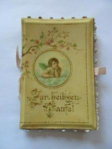 Wunderschöne alte Klappkarte Glückwunschkarte Zur heiligen Taufe 1898