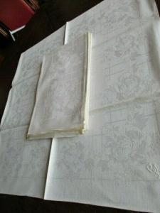 Herrliche große alte Leinen Tischdecke Tafeltuch + 12 Servietten Jugendstil