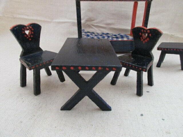 Puppenmöbel Schlafzimmer Bett Tisch Stuhl Hocker Holz 40er J
