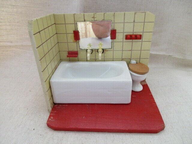 Puppenmöbel Bad Badezimmer Porzellan Badewanne Toilette Holz 60er Jahre 0