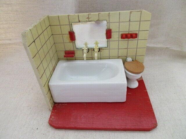 Puppenmöbel Bad Badezimmer Porzellan Badewanne Toilette Holz 60er Jahre 1