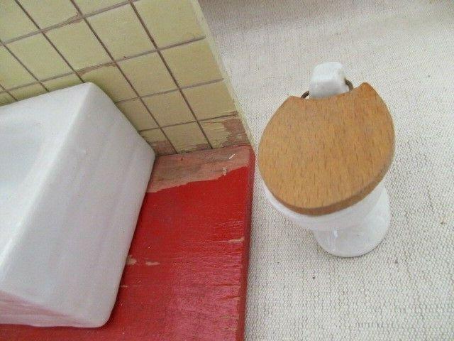 Puppenmöbel Bad Badezimmer Porzellan Badewanne Toilette Holz 60er Jahre 3