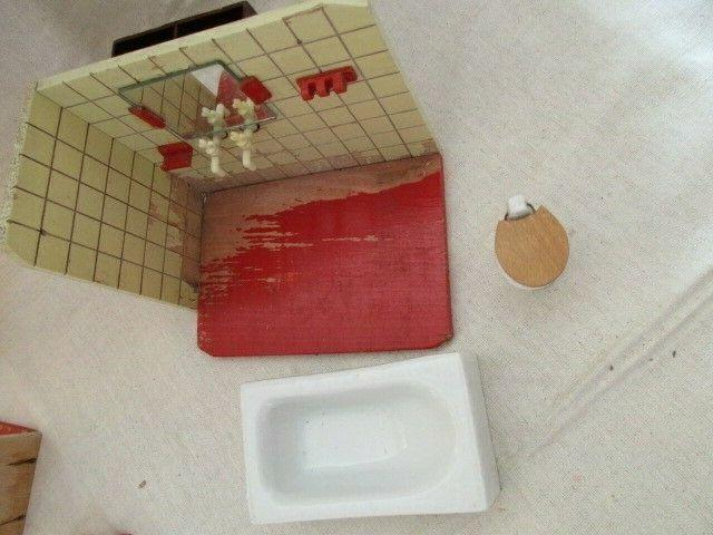 Puppenmöbel Bad Badezimmer Porzellan Badewanne Toilette Holz 60er Jahre 5