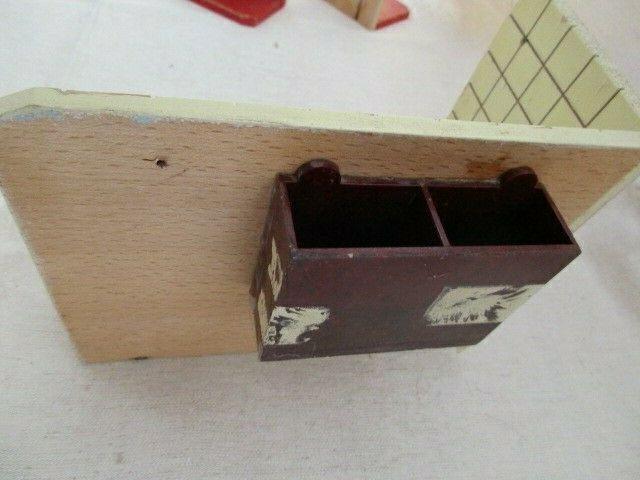 Puppenmöbel Bad Badezimmer Porzellan Badewanne Toilette Holz 60er Jahre 6