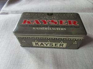Alte Blechdose Kayser Nähmaschinen Fahrräder Fabrik Kaiserslautern um 1910