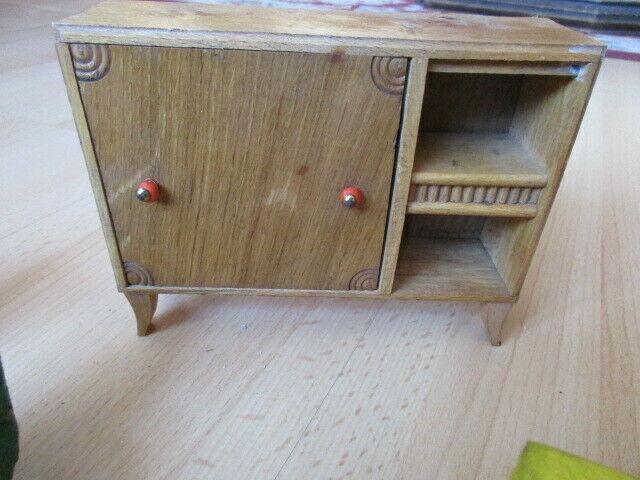 Wohnstube Wohnzimmer Sessel Tisch Schrank Puppenstube Holz 50/ 60er Jahre 1